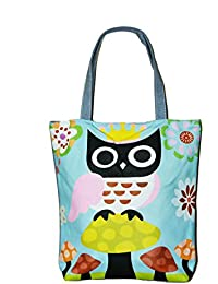 Zipped Fashion Canvas Tote Owl Design Large Space Zipper Hand Bag For Women ,Girls