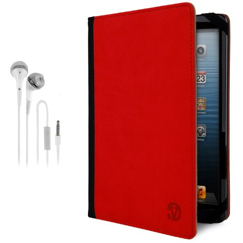 Vangoddy Mary Portfolio - Fire Red Black Multi Purpose Book Style Slim Flip Cover Case For Asus Padfone X Android Tablet + White Hands-Free Earphones Headphones W/ Microphone