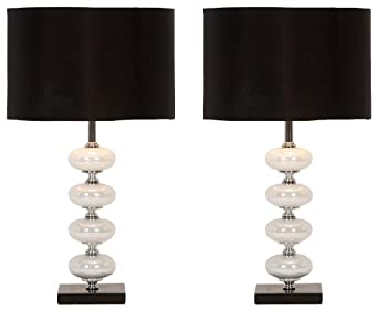 Deco 79 40023 Black and Pearl Metal Glass Table Lamps
