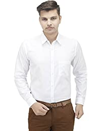 Swisscott White Cotton Formal Full Sleeves Slim Fit Shirts For Men