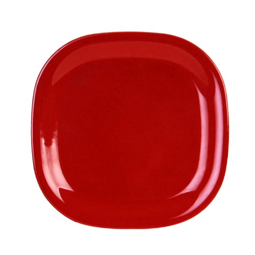 Global Goodwill 1-Piece Jazz Series Round Square Plate, 8-1/4 By 8-1/4-Inch, Jazz Red