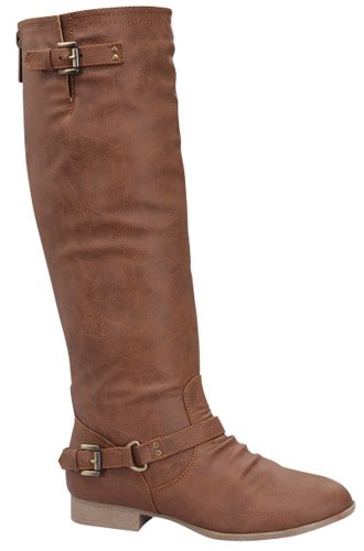 COCO 1 Womens Buckle Riding Knee High Boots,Coco-01v5.0 Premium Tan 7.5