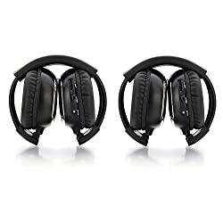 HOT 2-pack of Two Channel Folding Universal Rear Entertainment System Infrared Headphones Wireless IR DVD Player Headrest Overhead Head Phones for Car Audio System