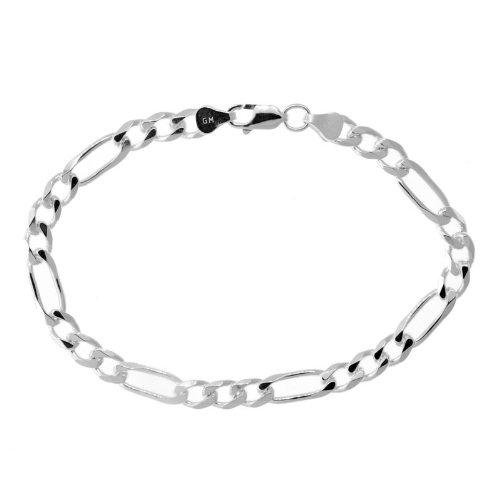 Solid Sterling Silver Figaro Link Bracelet