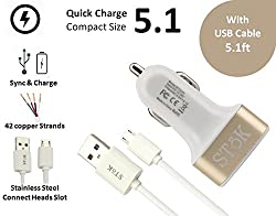 SToK 5.1 Amp Output 3 USB Port Compatible Certified Car Charger For Apple iPhone, Samsung, Micromax, HTC, Nokia, OnePlus, Xiaomi & All Other Smartphones And Tablets - Smallest Car Charger With 3 Fast Charging USB Ports - (GOLD & White) with Micro USB Cable 3.2 feet / 1 meter (ST-CC01-G-UD1)