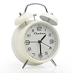 Chelvee(TM) 4 Antique Twin Bell Analog Quartz Alarm Clock with Nightlight, Silent Clock Mechanism, Non Ticking, Loud Alarm Bell, Battery Operated. (White)