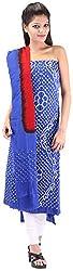 Shreya Bandhej Women's Cotton UnStitched Dress Material (SB3-BR, Blue & Red )