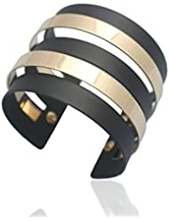 GlitterCart Black & Gold Alloy Cuff Bracelet For Women