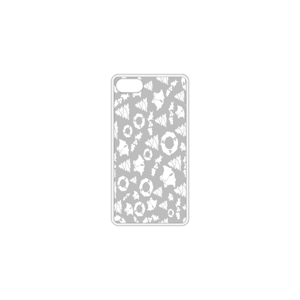 Grey Christmas Backround Image White Apple Iphone 5 Cell Phone Case   Cover