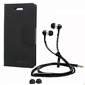 Aart Fancy Wallet Dairy Jeans Flip Case Cover for Blackberry9300 (Black) + Zipper Earphones/Hands free With Mic *Stylish Design* for all Mobiles- computers & laptops By Aart Store.