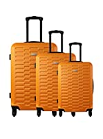 ZIFEL Set de 3 trolleys rígidos (Naranja)