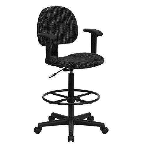 Black Patterned Fabric Ergonomic Drafting Chair with Height Adjustable Arms (Adjustable Range 22.5''-27''H or 26''-30.5''H) Bt 659 Blk Arms