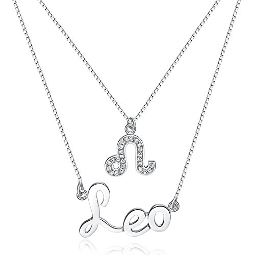 Noble Mens Leo Pendant Necklace in 925 Sterling Silver, Fashion Leo Zodiac Necklace