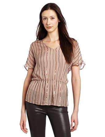 Michael Stars Women's Elbow Sleeve Blouson V-Neck Shirt, Sand, Medium