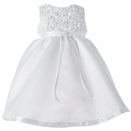 Lauren Madison Baby-Girls Newborn Christening Baptism Special Occasion Satin Dress Gown Outfit with Floral Soutache Top., White, 24 Months