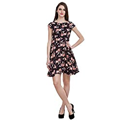 MansiCollections Women's Fit and Flare Black Dress (X-Small)