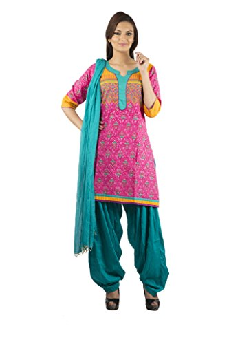 Rama Set Of Pink-Orange Color Kurti With Dark Green Color Patiala & Duppatta
