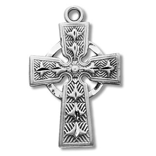 Sterling Silver Medium Celtic Cross Medal Medal with 18