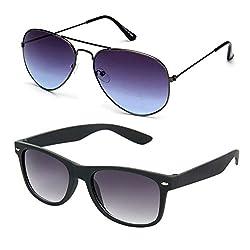 Rhodopsin UV Protected Grey Blue Aviator and Black Wayfarer Sunglasses (Combo_Grey_Blue_Aviator_Black_Wayfarer)
