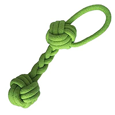 Pet Puppy Dog Cotton Rope Chew Toys Bone Teeth Cleaning with Tug Double Ball Knot