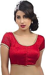 Red Designer Silk Blouse Material