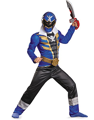 Disguise Saban Super MegaForce Power Rangers Blue Ranger Classic Muscle Boys Costume