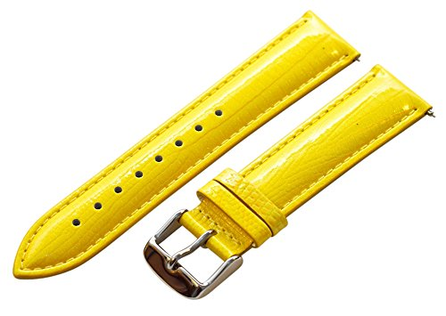 24Mm 2 Piece Ss Leather Lizard Grain Yellow Interchangeable Replacement Watch Band Strap