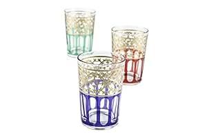Casablanca Market Moroccan Moorish Design Tea Glasses, Multicolored, Set of 6