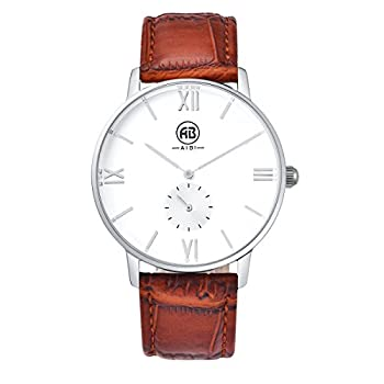 AIBI Men`s Silver Tone White Large Face Quartz Analog Brown Leather Watch with Small Second Dial
