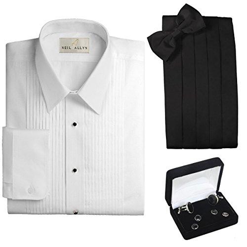 tuxedo-shirt-cummerbund-bow-tie-cufflink-studs-set-laydown-collar-l-16-165-neck-34-35-sleeve-white