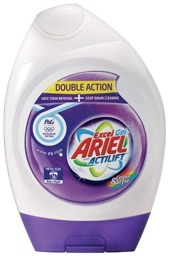 Ariel Excel Gel Colour Laundry Detergent with Actilift 16 Washes (Pack of 6, Total 96 Washes)