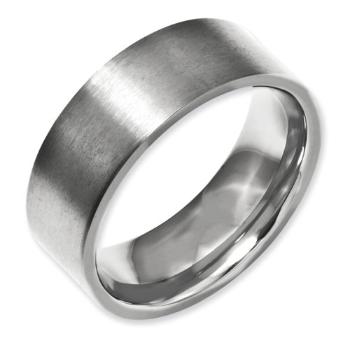 Titanium Flat 8mm Brushed Band Size 14.5