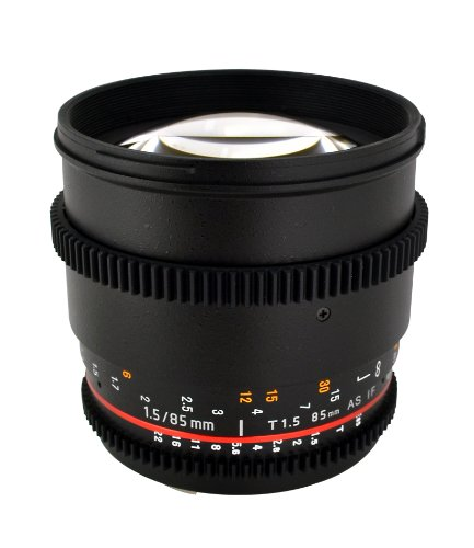 Rokinon Cv85M-S 85Mm T/1.5 Aspherical Lens For Sony Alpha With De-Clicked Aperture And Follow Focus Compatibility Fixed Lens