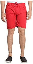 Broche Men's Cotton Shorts (Broche9012-L, Red, Large)