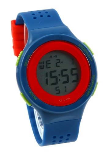 Korean Retro Girls Students Contrast Color Led Sport Watches Blue Band Red Circle