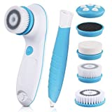 Maple Holistics Dbpower 6 In 1 Waterproof Electric Facial & Body Cleansing Brush With 2 Speeds Setting For Skin Care, Include Detachable Handle & 5 Brush Head And Cute Cosmetic Bag (Blue)