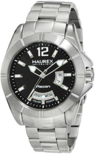 Haurex Italy 7A366UNN - Reloj analógico de cuarzo para hombre con correa de acero inoxidable, color plateado