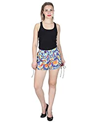 Miway Women's Embroidery Cotton Off White Shorts (MULTI COLOR, 28)