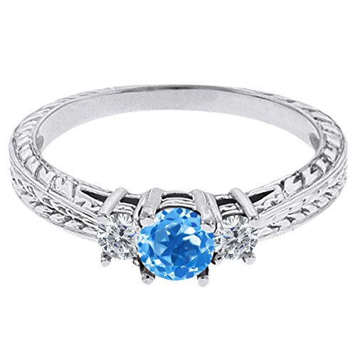 0.57 Ct Round Swiss Blue Topaz G/H Diamond 14K White Gold 3-Stone Ring