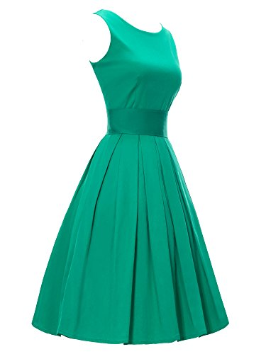 Luouse 'Lana' Vintage 1950's Inspired Rockabilly Swing Dress(Green FBA,Large)