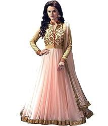 Cenizas Pink Colour Net Embroidered Semi-stitched Anarkali