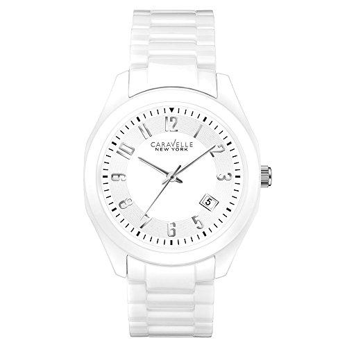 Caravelle New York 45M107 - Reloj Analógico de Cuarzo para Mujer, correa de Cerámica color Blanco