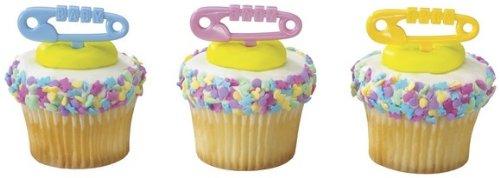 72 ~ Baby Shower Diaper Pins Picks ~ Designer Cake/Cupcake Topper ~ New!!!!!