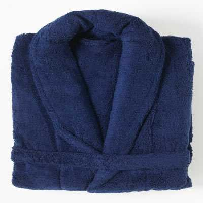 Linens Limited 100% Egyptian Cotton Bath Robe, Navy Blue, Large