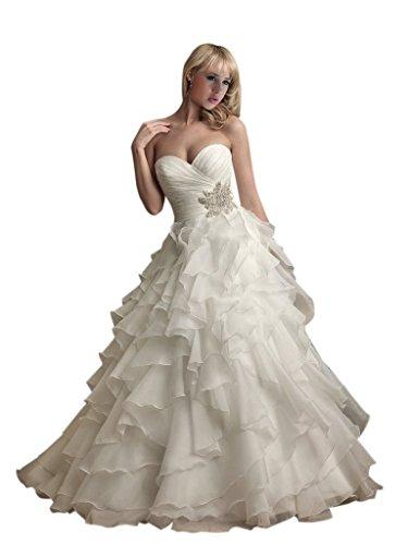 f2312c002e95 JoyVany Sweetheart Beaded Wedding Dresses 2016 Organza Long Ruffled Wedding  Gown White Size 14
