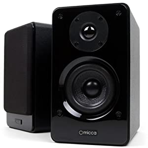 Micca Club 3 Bookshelf Speakers with 3.5-Inch Carbon Fiber Woofer and Silk Dome Tweeter, Black