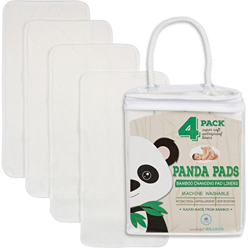 4-Pack Bamboo Changing Pad Liners – Waterproof – Natural & Soft – Machine Wash & Dry – for diaper changes – Antibacterial & Hypoallergenic Panda Pads