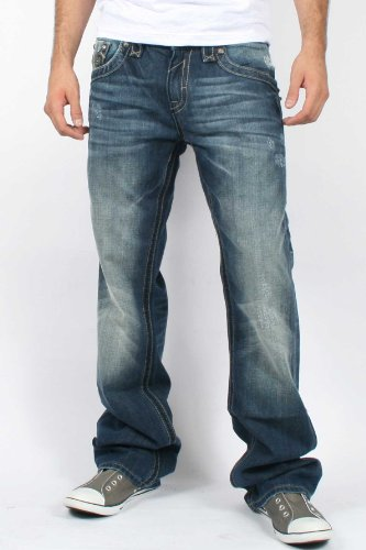 Rock Revival - Mens Ray Boot Cut Denim Jeans in Color: B6, Size: 40, Color: Denim