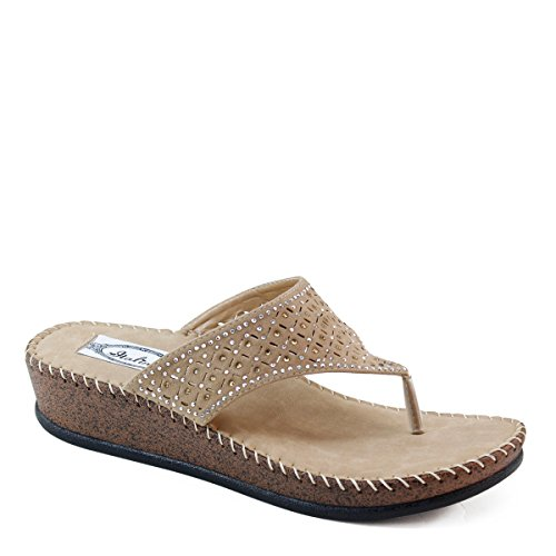 Brieten Women'S Studded Floral Howllow Thong Flip Flops Wedge Sandals (10, Camel)