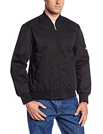 Dickies Occupational Workwear JTC2BK L Polyester/Cotton Insulated Team Jacket with Slash Front Pockets, Large, Black